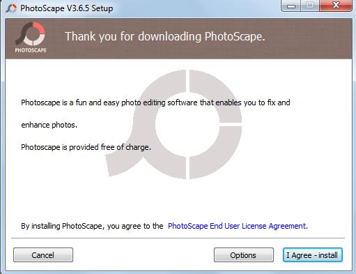 Процесс установки photoscape - шаг 1